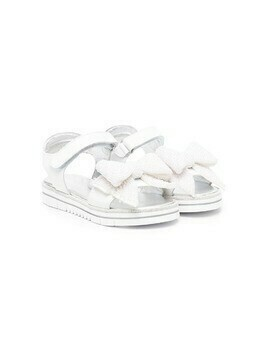 Monnalisa pearl-embellished bow sandals - White