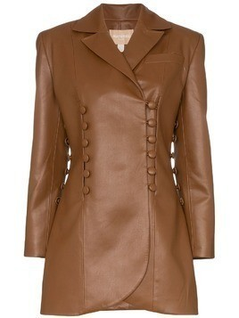 Matériel double-breasted longline jacket - Brown