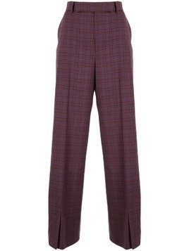 Irene check pattern wide leg trousers - PURPLE