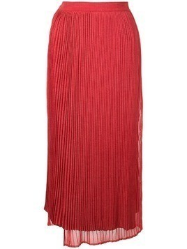 Marina Moscone high-waist pleated silk skirt - Red