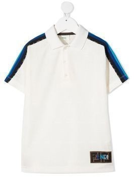 Fendi Kids logo print polo shirt - Neutrals