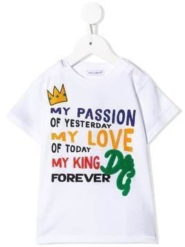 Dolce & Gabbana Kids DG King print T-shirt - White