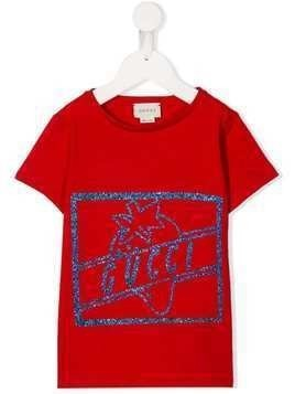 Gucci Kids glitter logo T-shirt - Red