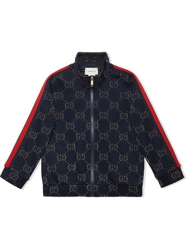 Gucci Kids GG lamé track top - Blue