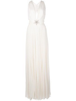 Dundas cross-back pleated dress - White