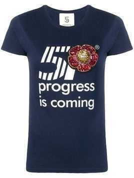 5 Progress sequin embroidered T-shirt - Blue
