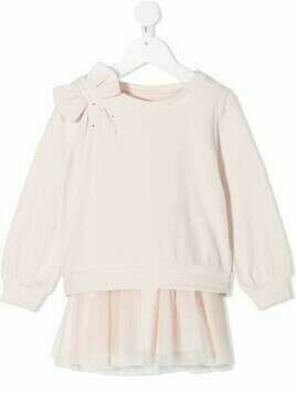 Lapin House bow-detail sweatshirt dress - PINK
