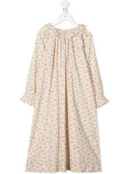 Bonpoint frilled floral print night gown - NEUTRALS