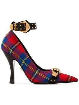 Versace multicoloured 105 tartan Medusa buckle cotton pumps