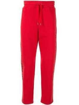 Ports V forward print track pants - Red