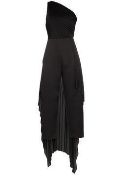 Solace London Winnie one-shoulder draped jumpsuit - Black