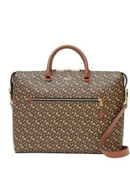 Burberry monogram print briefcase - Brown