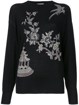 Ms Min floral pattern jumper - Black