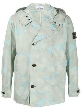 Stone Island camouflage print hooded jacket - Green