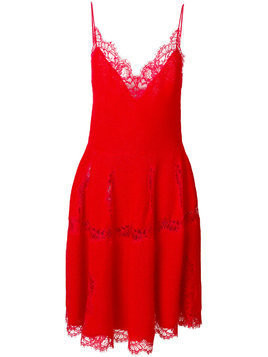 Givenchy lace trim knitted dress - Red