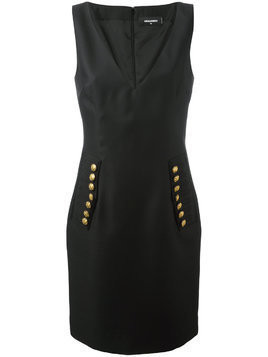 Dsquared2 V-neck decorative button dress - Black