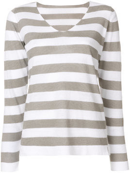 Le Tricot Perugia striped V-neck jumper - Grey