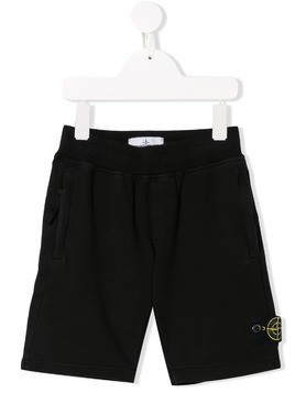 Stone Island Junior logo patch casual shorts - Black
