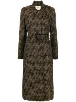 Fendi belted Zucca trench coat - Brown