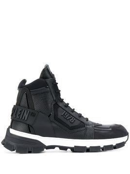 Philipp Plein hi-top embossed logo sneakers - Black
