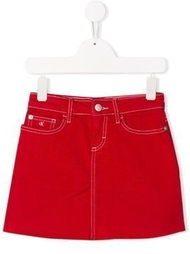 Calvin Klein Kids stitch detail denim skirt - Red