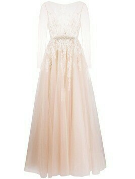 Loulou sheer-sleeved bridal gown - Neutrals