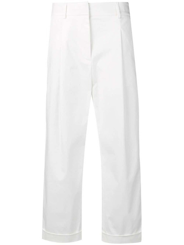 Eleventy cropped trousers - White