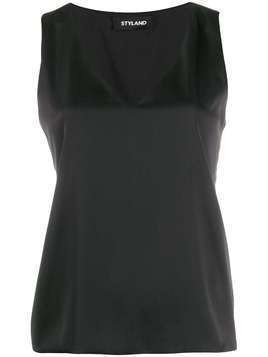 Styland satin tank top - Black