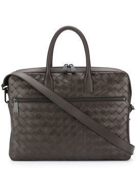 Bottega Veneta Intrecciato zipped briefcase - Brown