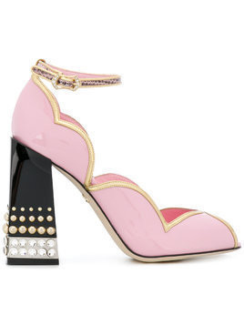 Dolce & Gabbana Peep Toe D'Orsay pumps with jewel heel - Pink