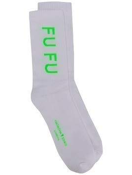 Natasha Zinko slogan ribbed socks - White