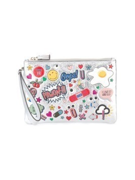 Anya Hindmarch stickers zipped clutch - Metallic