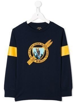 Ralph Lauren Kids skiing bear sweatshirt - Blue