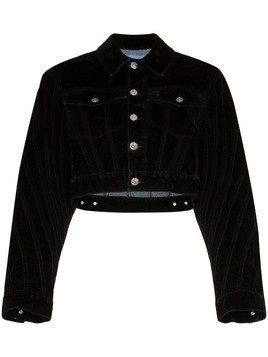 Mugler velvet cropped denim jacket - Black