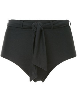 Peony tie belt hi waisted bikini bottoms - Black