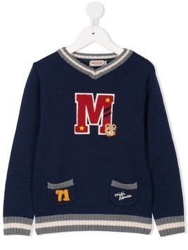 Miki House logo patch sweater - Blue