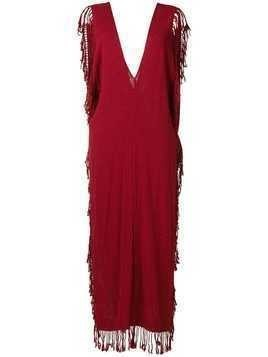 Caravana deep V neck long dress - Red