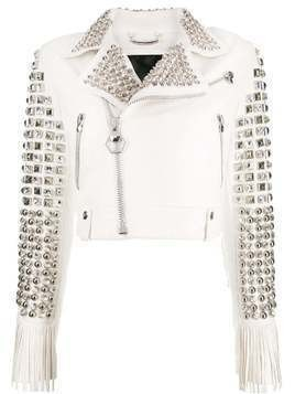 Philipp Plein Cowboy leather jacket - White