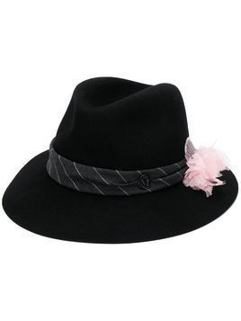 Maison Michel floral embroidered fedora hat - Black