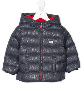 Emporio Armani Kids logo print hooded puffer coat - Blue