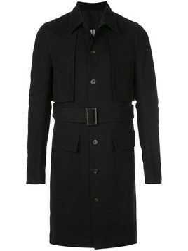 Rick Owens belted cotton trench coat - Black
