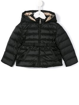 Burberry Kids check lined puffer jacket - Black