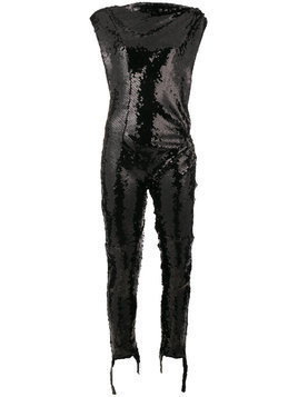 Paco Rabanne asymmetric sequinned jumpsuit - Black