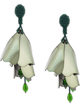 Oscar de la Renta large Impatients flower drop earrings - Green