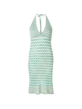 Missoni Vintage zig-zag halterneck dress - Blue