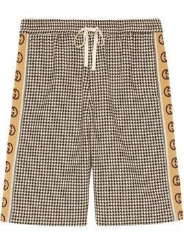 Gucci Interlocking G stripe houndstooth shorts - White