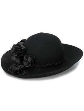 Horisaki Design & Handel flower appliqué hat - Black