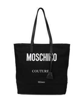 Moschino contrast logo tote bag - Black