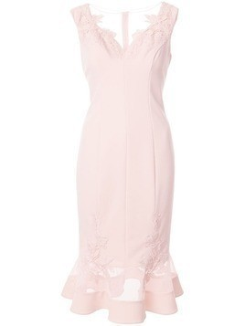 Aidan Mattox floral embroidered fishtail dress - PINK