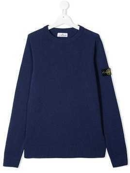 Stone Island Junior logo patch sweater - Blue